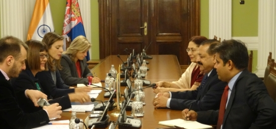 Dr. Jitendra Singh, Minister of State (PMO) meeting with Ms Maja Gojkovic, Speaker of the National Assembly of Serbia in Belgrade